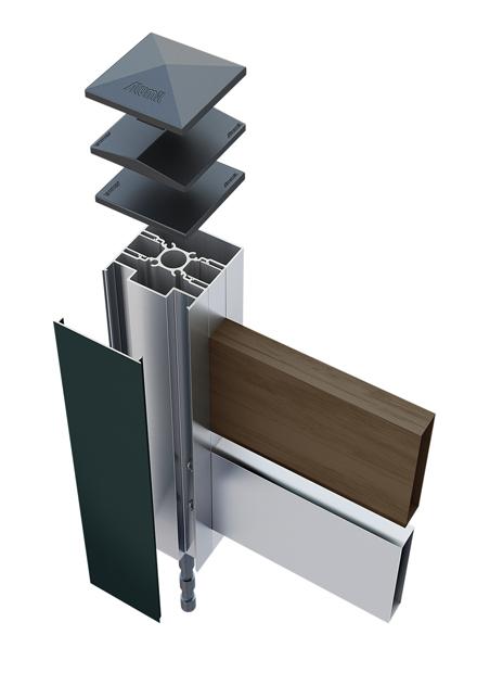 Sistema per recinzioni in alluminio con doghe orizzontali